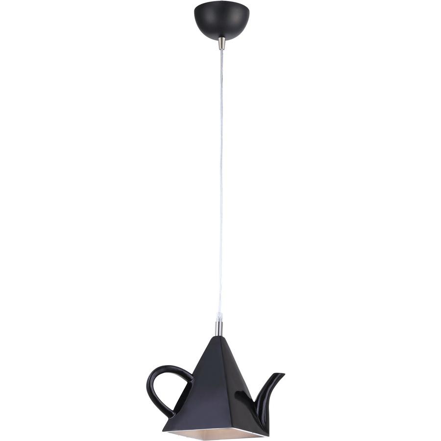 Подвес Arte lampСветильники подвесные<br>Количество ламп: 1, Мощность: 40, Назначение светильника: для комнаты, Стиль светильника: современный, Материал светильника: металл, керамика, Высота: 180, Длина (мм): 190, Ширина: 150, Тип лампы: накаливания, Патрон: Е14, Цвет арматуры: черный, Коллекция: cafeteria 6604<br>