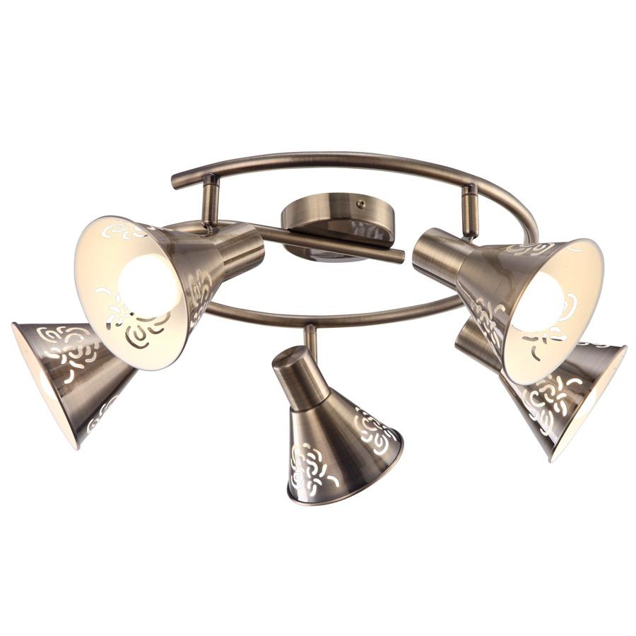 Спот Arte lampСпоты<br>Тип: спот,<br>Стиль светильника: античный,<br>Материал светильника: металл,<br>Количество ламп: 5,<br>Тип лампы: накаливания,<br>Мощность: 40,<br>Патрон: Е14,<br>Цвет арматуры: бронза,<br>Ширина: 650,<br>Длина (мм): 650,<br>Высота: 220<br>