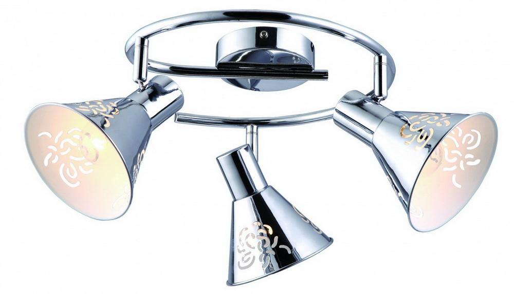 Спот Arte lampСпоты<br>Тип: спот, Стиль светильника: модерн, Материал светильника: металл, Количество ламп: 3, Тип лампы: накаливания, Мощность: 40, Патрон: Е14, Цвет арматуры: хром, Ширина: 840, Длина (мм): 840, Высота: 220, Коллекция: cono 5218<br>