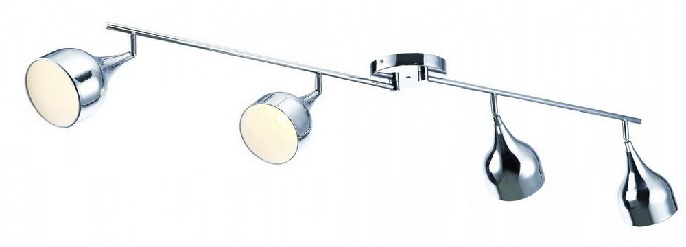 Спот Arte lampСпоты<br>Тип: спот,<br>Стиль светильника: хай-тек,<br>Материал светильника: металл,<br>Количество ламп: 4,<br>Тип лампы: накаливания,<br>Мощность: 40,<br>Патрон: Е14,<br>Цвет арматуры: хром,<br>Ширина: 120,<br>Длина (мм): 1610,<br>Высота: 170<br>