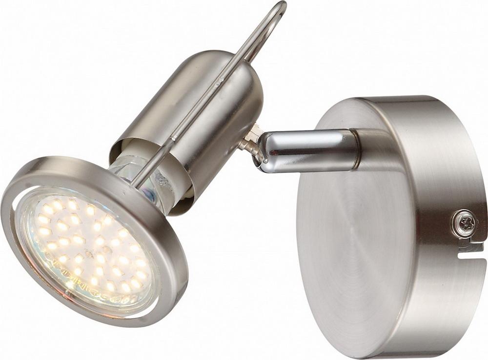 Спот GloboСпоты<br>Тип: спот,<br>Стиль светильника: хай-тек,<br>Материал светильника: металл,<br>Количество ламп: 1,<br>Тип лампы: светодиодная,<br>Мощность: 3,<br>Патрон: LED,<br>Цвет арматуры: серебристый,<br>Ширина: 110,<br>Длина (мм): 120,<br>Высота: 80<br>