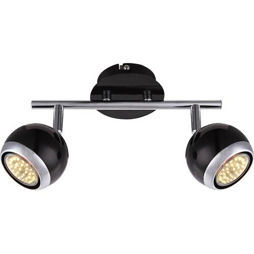 Спот GloboСпоты<br>Тип: спот,<br>Стиль светильника: хай-тек,<br>Материал светильника: металл, стекло,<br>Количество ламп: 2,<br>Тип лампы: светодиодная,<br>Мощность: 3,<br>Патрон: LED,<br>Цвет арматуры: черный,<br>Ширина: 550,<br>Длина (мм): 150,<br>Высота: 550,<br>Коллекция: oman<br>