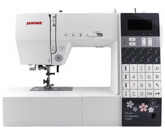Швейная машинка JanomeШвейные машинки<br>Тип: обычная,<br>Тип управления: компьютерное,<br>Скорость шитья: 820,<br>Мощность: 40,<br>Подсветка: есть,<br>Количество швейных операций: 60,<br>Выполнение петли: автомат,<br>Число петель: 4,<br>Максимальная длина стежка: 5,<br>Максимальная ширина стежка: 7,<br>Дисплей: есть,<br>Рукавная платформа: есть,<br>Отсек для аксессуаров: есть,<br>Вес нетто: 7<br>