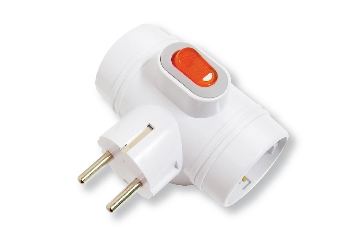 Блок DaesungАксессуары для электромонтажа<br>Тип аксессуара: тройник, Степень защиты от пыли и влаги: IP 20, Количество гнезд: 3, Выключатель: есть<br>