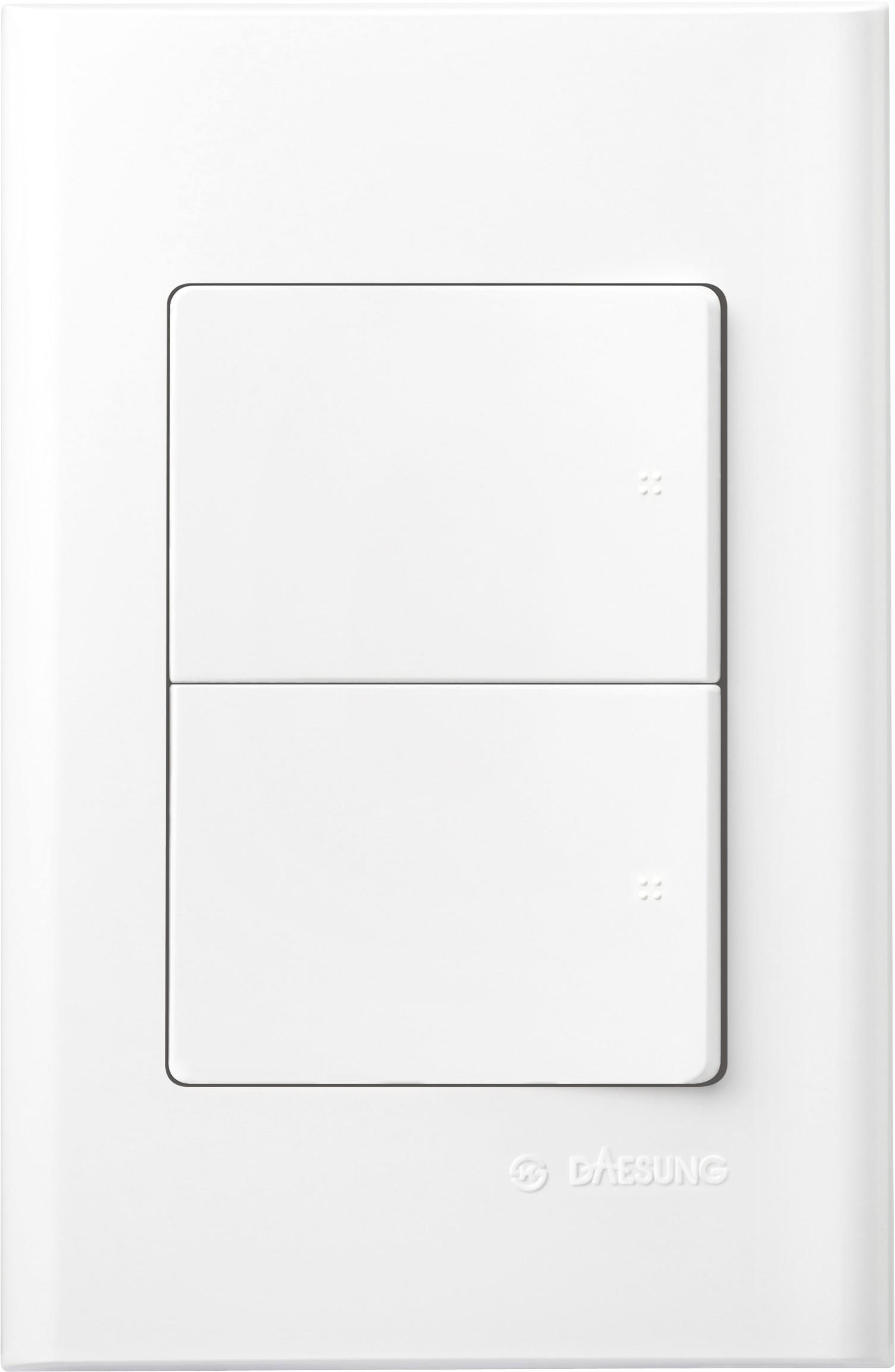 Выключатель DaesungЭлектроустановочные изделия<br>Тип изделия: выключатель,<br>Способ монтажа: скрытой установки,<br>Цвет: белый,<br>Сила тока: 16,<br>Количество клавиш: 2,<br>Выходная мощность максимально: 3500<br>