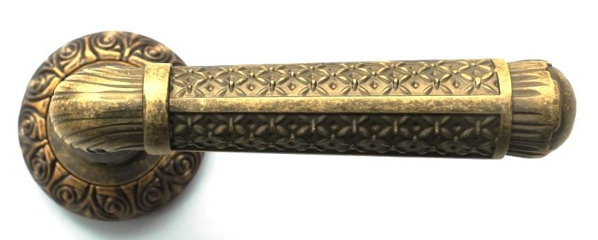 Ручка фалевая BussareДверная фурнитура<br>Тип дверной фурнитуры: ручка, Материал: алюминий, Цвет: античная латунь<br>