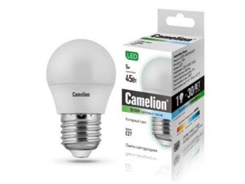 Лампа светодиодная CamelionЛампы<br>Тип лампы: светодиодная,<br>Форма лампы: шар,<br>Цвет колбы: прозрачная,<br>Тип цоколя: Е27,<br>Напряжение: 220,<br>Мощность: 5,<br>Цветовая температура: 4500,<br>Цвет свечения: нейтральный<br>