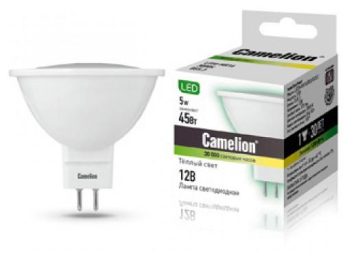 Лампа светодиодная CamelionЛампы<br>Тип лампы: светодиодная,<br>Форма лампы: рефлекторная,<br>Цвет колбы: прозрачная,<br>Тип цоколя: GU5.3,<br>Напряжение: 12,<br>Мощность: 5,<br>Цветовая температура: 3000,<br>Цвет свечения: нейтральный<br>