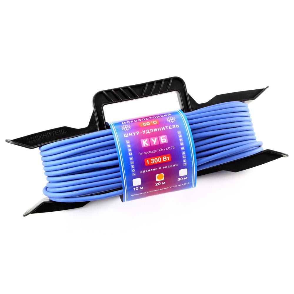 Удлинитель PowercubeУдлинители и сетевые фильтры<br>Количество гнезд: 1,<br>Заземление: нет,<br>Тип удлинителя: удлинитель,<br>Марка кабеля: ПГА,<br>Число / сечение жил: 2х0.75,<br>Длина (м): 20,<br>Выключатель: нет,<br>Цвет: синий,<br>Шторки: есть,<br>Наличие катушки: нет,<br>USB порт: нет,<br>Сила тока: 6,<br>Автоматическое сматывание кабеля: нет,<br>Степень защиты от пыли и влаги: IP 20<br>
