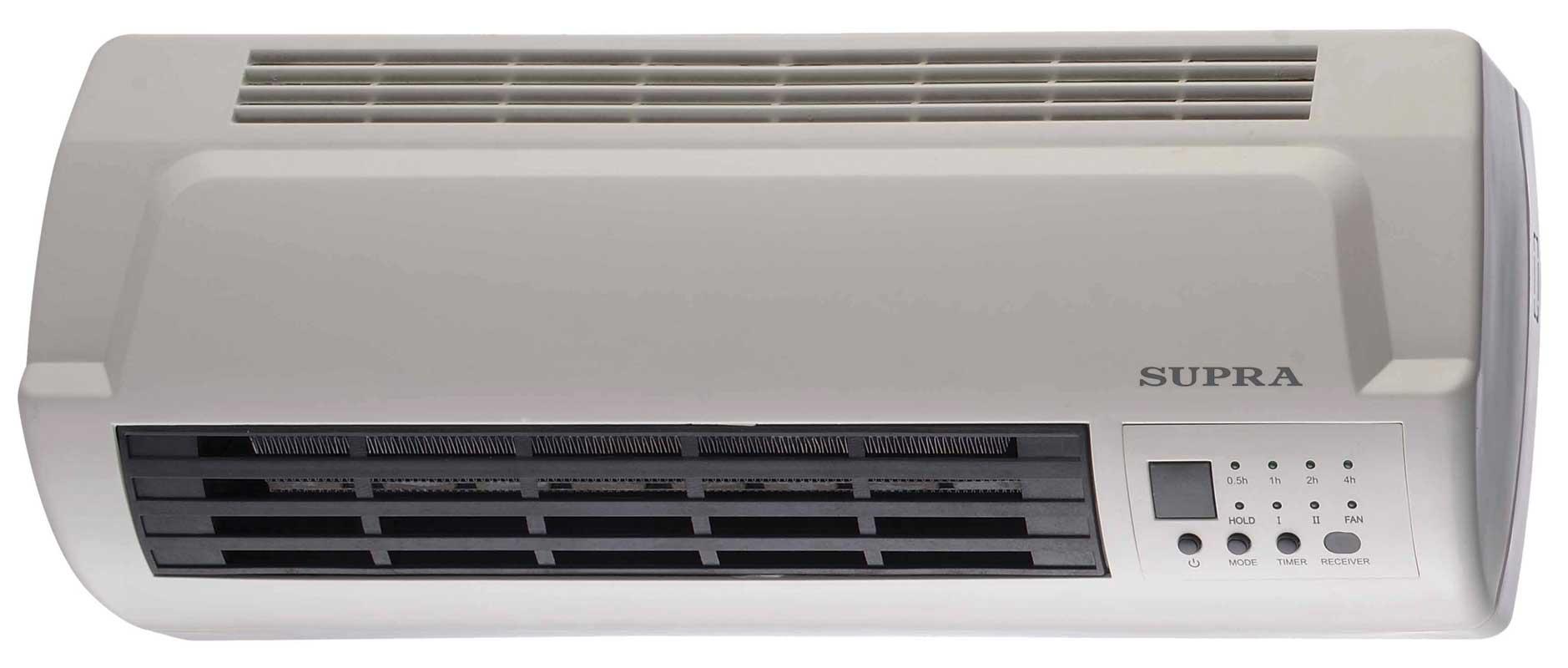 Тепловентилятор SupraТепловентиляторы электрические (бытовые)<br>Мощность: 2000,<br>Нагревательный элемент: керамический,<br>Напряжение: 220,<br>Тип управления: механическое,<br>Тип установки: настенный,<br>Защита от перегрева: есть<br>