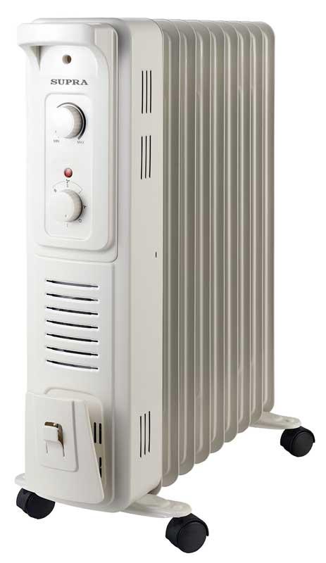 Радиатор SupraРадиаторы масляные<br>Мощность: 2000,<br>Количество секций: 9,<br>Количество режимов: 3,<br>Защита от перегрева: есть,<br>Встроенный вентилятор: есть,<br>Напряжение: 220,<br>Тип установки: напольный<br>