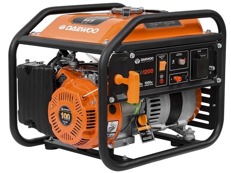 Генератор DaewooГенераторы (электростанции)<br>Полная мощность: 1.2,<br>Мощность активная: 1,<br>Производитель двигателя: DAEWOO,<br>Рабочий объем: 98,<br>Напряжение: 230,<br>Бак: 6,<br>Время работы на полном баке: 12,<br>Вид топлива: бензин,<br>Назначение генератора: резервный,<br>Тип стартера: ручной,<br>Размеры: 477х390х400<br>