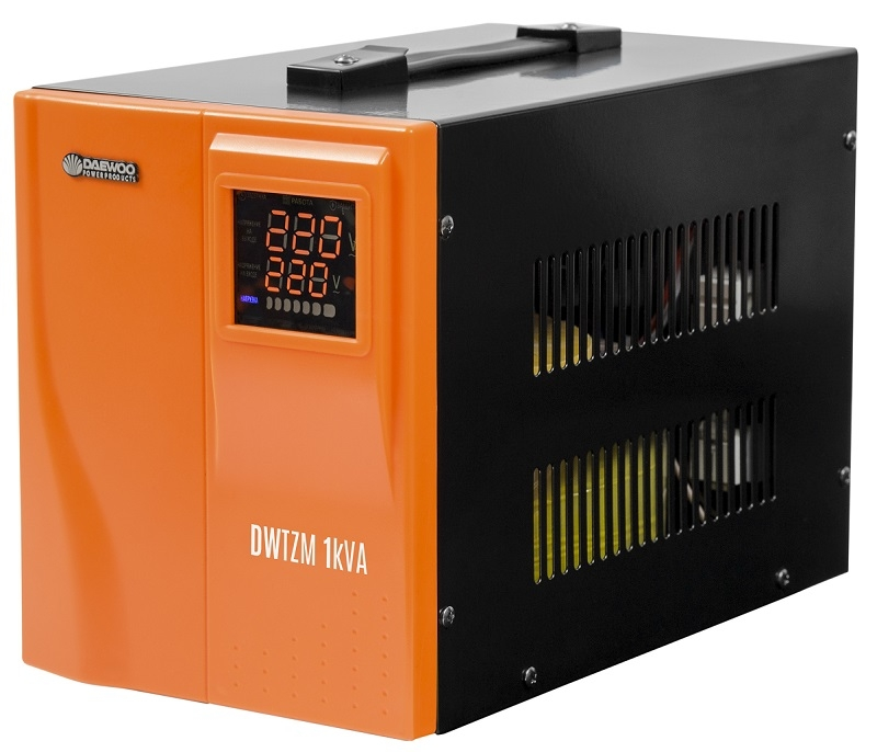 Стабилизатор напряжения DaewooСтабилизаторы и ИБП<br>Мощность полная: 1000,<br>Мощность: 1000,<br>Тип: однофазный стабилизатор,<br>Тип стабилизатора: электронный (релейный),<br>Тип установки: напольный,<br>Мин. входное напряжение: 140,<br>Макс. входное напряжение: 270,<br>Выходное напряжение: 220,<br>Дисплей: цифровой<br>