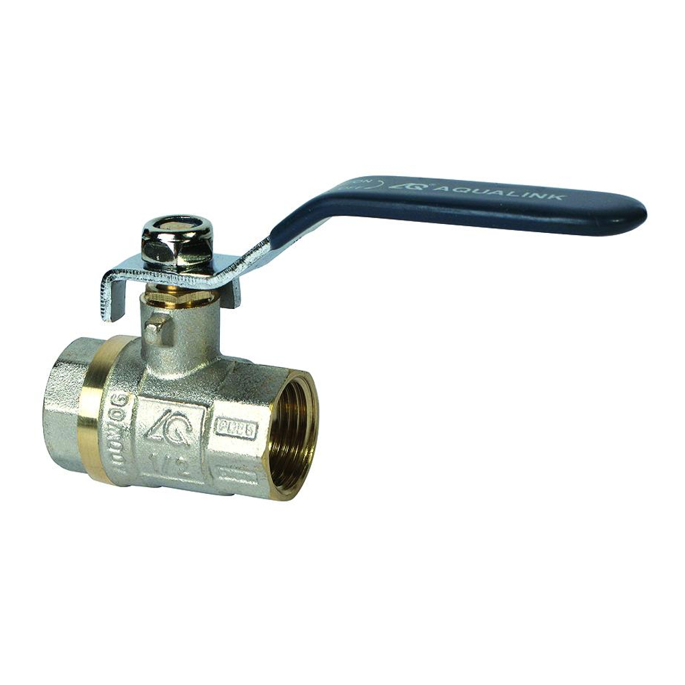 Кран шаровый AqualinkКраны шаровые<br>Назначение: для воды, Материал фитинга: латунь, Тип трубного соединения: резьба, ДУ: 15, Присоединительный размер: 1/2  <br>