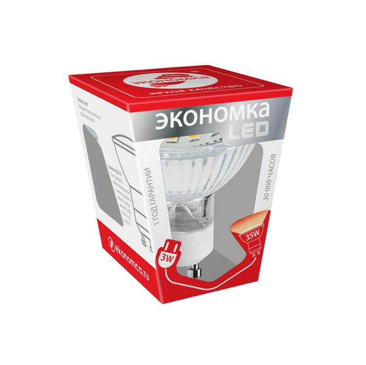 Лампа светодиодная ЭКОНОМКАЛампы<br>Тип лампы: светодиодная, Форма лампы: рефлекторная, Цвет колбы: белая, Тип цоколя: GU10, Напряжение: 220, Мощность: 3, Цветовая температура: 3000, Цвет свечения: теплый<br>