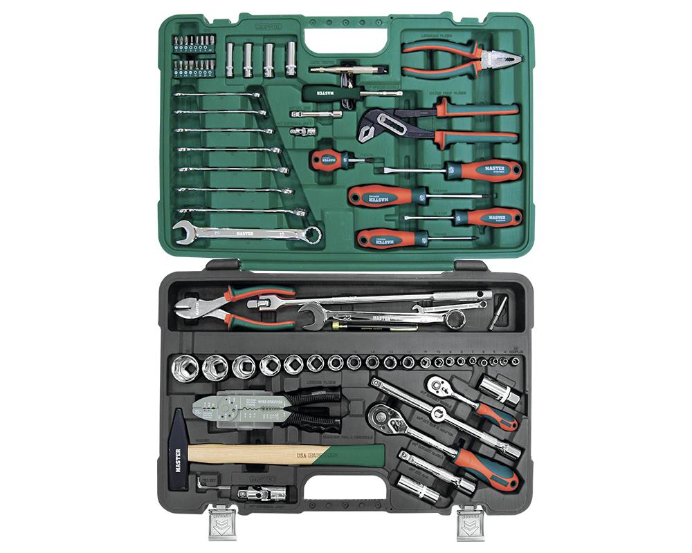 Набор инструментов MasterНаборы инструментов<br>Назначение: универсальный,<br>Количество предметов в наборе: 105,<br>Тип набора: инструменты в наборе,<br>Класс: проф.,<br>Поставляется в: кейсе,<br>Родина бренда: Россия<br>