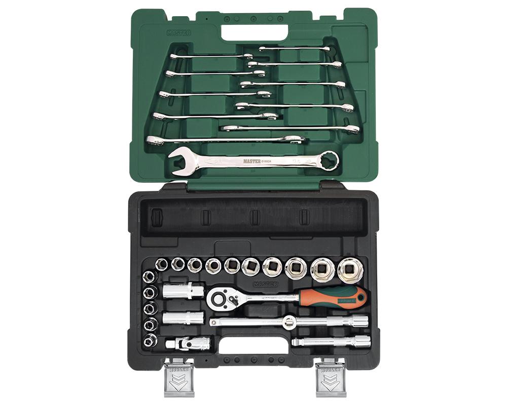 Набор инструментов MasterНаборы инструментов<br>Назначение: универсальный,<br>Количество предметов в наборе: 33,<br>Тип набора: инструменты в наборе,<br>Класс: проф.,<br>Поставляется в: кейсе,<br>Родина бренда: Россия<br>