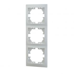Рамка LezardЭлектроустановочные изделия<br>Тип изделия: рамка, Способ монтажа: скрытой установки, Цвет: белый, Количество гнезд: 3, Коллекция: мира<br>