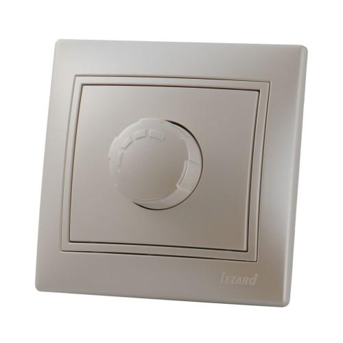 Диммер LezardЭлектроустановочные изделия<br>Тип изделия: диммер,<br>Способ монтажа: скрытой установки,<br>Цвет: жемчужно-белый,<br>Сила тока: 10,<br>Количество клавиш: 1,<br>Выходная мощность максимально: 2200,<br>Напряжение: 220<br>