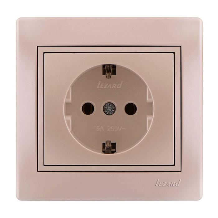 Розетка LezardЭлектроустановочные изделия<br>Тип изделия: розетка,<br>Способ монтажа: скрытой установки,<br>Цвет: жемчужно-белый,<br>Заземление: есть,<br>Сила тока: 10,<br>Количество гнезд: 1,<br>Выходная мощность максимально: 2200,<br>Напряжение: 220<br>
