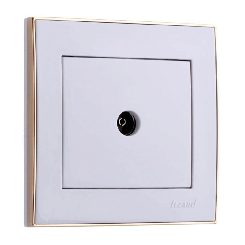 Розетка LezardЭлектроустановочные изделия<br>Тип изделия: розетка телевизионная,<br>Способ монтажа: скрытой установки,<br>Цвет: белый с золотым,<br>Количество гнезд: 1,<br>Напряжение: 220<br>