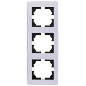 Рамка LezardЭлектроустановочные изделия<br>Тип изделия: рамка, Способ монтажа: скрытой установки, Цвет: белый с золотым, Количество гнезд: 3, Коллекция: рейн<br>