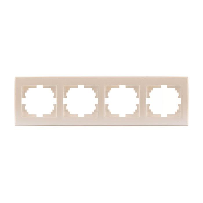 Рамка LezardЭлектроустановочные изделия<br>Тип изделия: рамка, Способ монтажа: скрытой установки, Цвет: жемчужно-белый, Количество гнезд: 4, Коллекция: рейн<br>