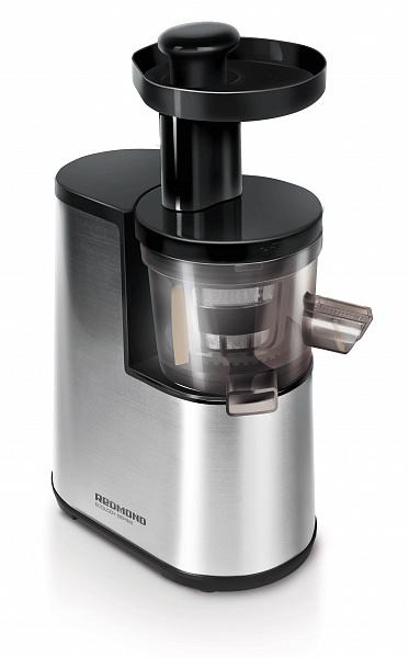 Соковыжималка RedmondСоковыжималки<br>Тип: универсальная,<br>Принцип работы соковыжималки: центробежная,<br>Мощность: 350,<br>Объем резервуара для сока: 500,<br>Резервуар для сока: стакан,<br>Реверс: есть,<br>Объем резервуара для мякоти: 0.5,<br>Материал корпуса: нерж.сталь,<br>Размер горловины: 140,<br>Количество скоростей: 1,<br>Обороты: 80<br>