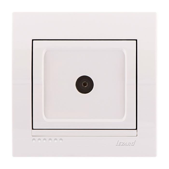 Розетка LezardЭлектроустановочные изделия<br>Тип изделия: розетка телевизионная,<br>Способ монтажа: скрытой установки,<br>Цвет: белый,<br>Количество гнезд: 1,<br>Напряжение: 220<br>