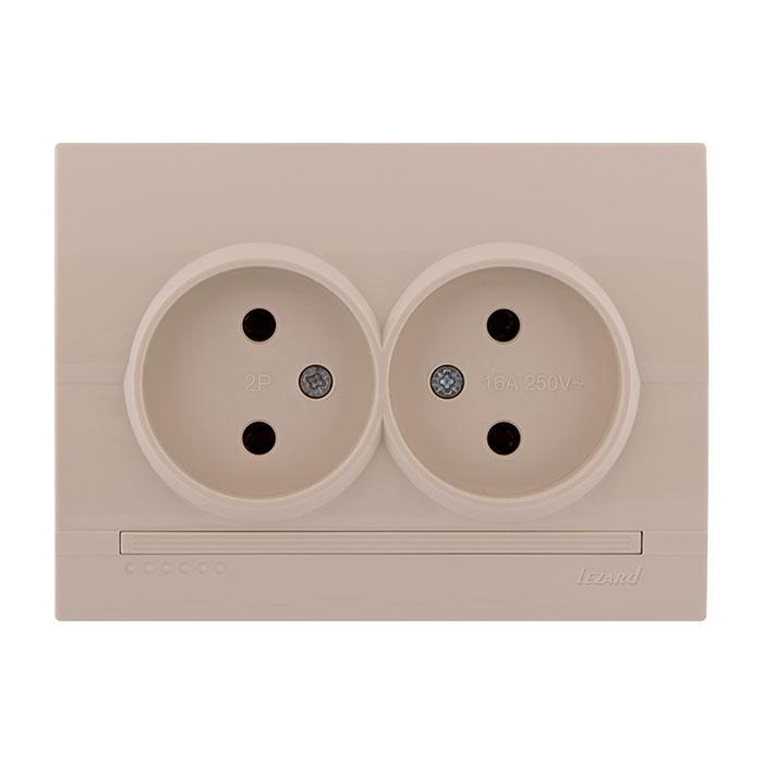 Розетка LezardЭлектроустановочные изделия<br>Тип изделия: розетка,<br>Способ монтажа: скрытой установки,<br>Цвет: кремовый,<br>Заземление: нет,<br>Сила тока: 10,<br>Количество гнезд: 2,<br>Выходная мощность максимально: 2200,<br>Напряжение: 220<br>