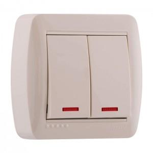 Выключатель LezardЭлектроустановочные изделия<br>Тип изделия: выключатель, Способ монтажа: открытой установки, Цвет: кремовый, Сила тока: 10, Количество клавиш: 2, Выходная мощность максимально: 2200, Напряжение: 220<br>