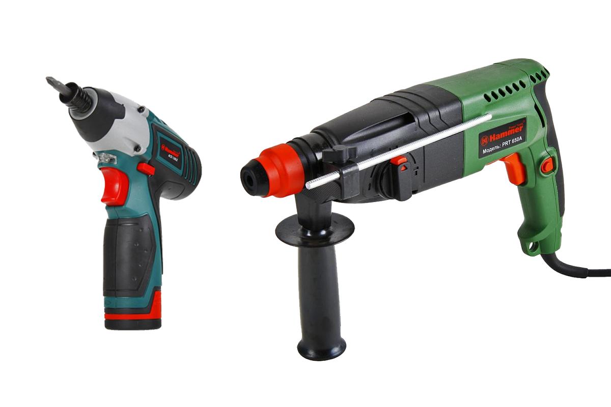Перфоратор hammer flex 650a, Набор: Дрель аккумуляторная