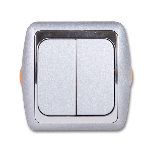 Выключатель DuewiЭлектроустановочные изделия<br>Тип изделия: выключатель,<br>Способ монтажа: скрытой установки,<br>Цвет: белый/серебристый,<br>Сила тока: 6,<br>Количество клавиш: 2,<br>Напряжение: 220<br>