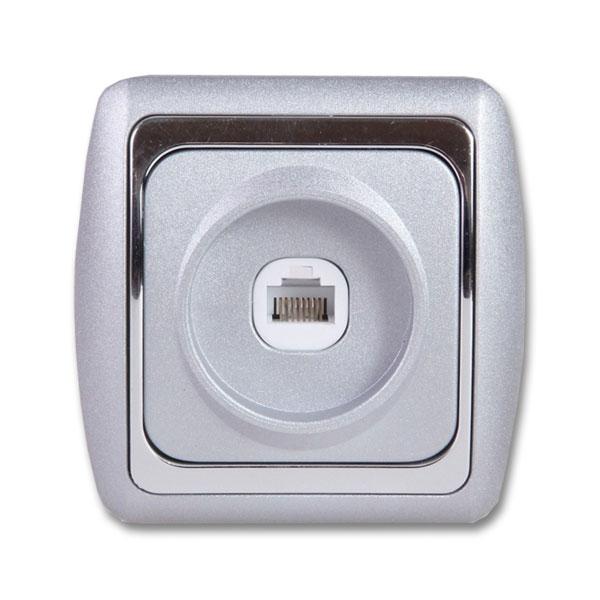 Розетка DuewiЭлектроустановочные изделия<br>Тип изделия: розетка телефонная, Способ монтажа: скрытой установки, Цвет: металлик/серебристый, Напряжение: 220<br>