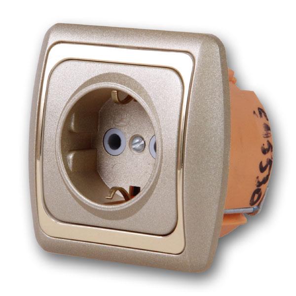 Розетка DuewiЭлектроустановочные изделия<br>Тип изделия: розетка,<br>Способ монтажа: скрытой установки,<br>Цвет: металлик/кремовый,<br>Заземление: есть,<br>Сила тока: 10,<br>Количество гнезд: 1,<br>Выходная мощность максимально: 2200<br>