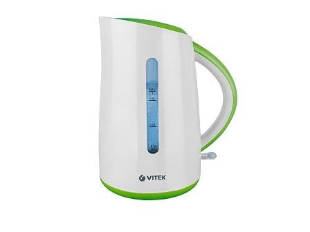 Чайник VitekЧайники и термопоты<br>Тип: электрочайник,<br>Мощность: 2200,<br>Объем: 1.7,<br>Цвет: белый,<br>Нагревательный элемент: дисковый,<br>Материал: пластик<br>