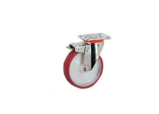 Колесо Tellure rotaПринадлежности для складского оборудования<br>Тип: колесо,<br>Материал: полиуретан,<br>Тип колеса: промышленное,<br>Диаметр колес, мм: 125,<br>Способ крепления: под площадку,<br>Поворот: есть,<br>С тормозом: есть<br>