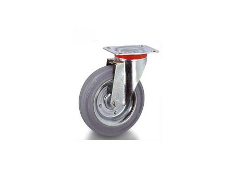 Колесо Tellure rotaПринадлежности для складского оборудования<br>Тип: колесо,<br>Материал: резина,<br>Тип колеса: промышленное,<br>Диаметр колес, мм: 150,<br>Способ крепления: под площадку,<br>Поворот: есть<br>