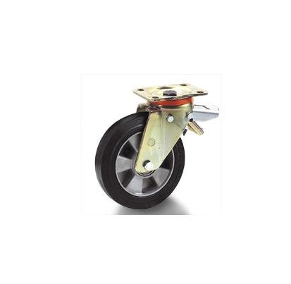 Колесо Tellure rotaПринадлежности для складского оборудования<br>Тип: колесо,<br>Материал: резина,<br>Тип колеса: промышленное,<br>Диаметр колес, мм: 200,<br>Способ крепления: под площадку,<br>Поворот: есть,<br>С тормозом: есть<br>