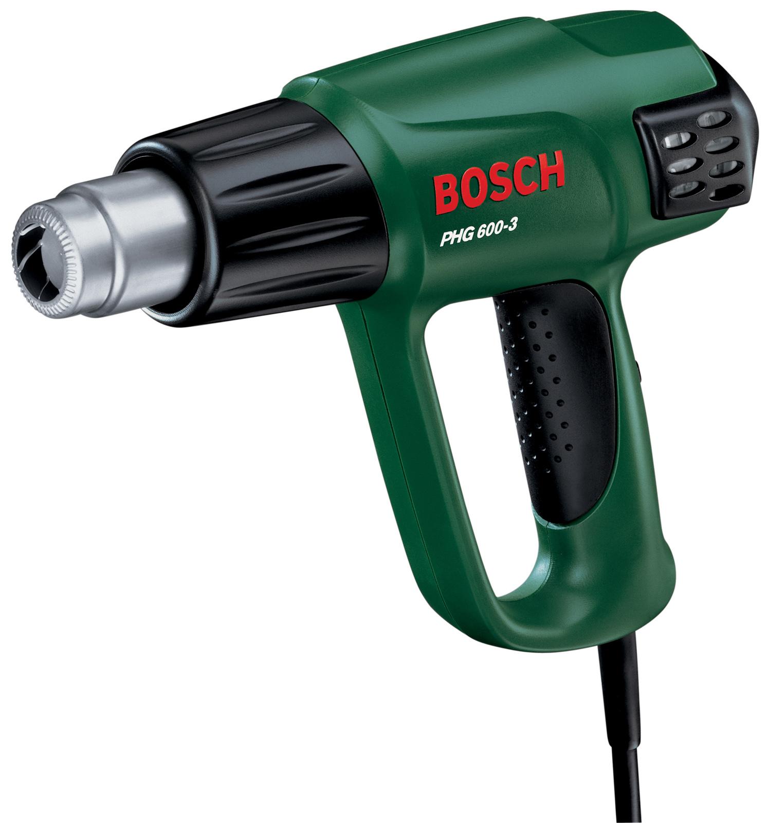 Фен технический BoschФены технические<br>Мощность: 1800, Температура: 50/400/600, Макс. температура: 600, Регулировка температуры: ступенчатая, Расход воздуха: 250/350/500, Защита от перегрева: есть, Поставляется в: коробке, Вес нетто: 0.8<br>