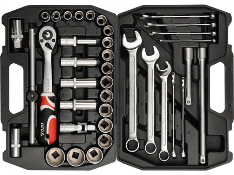Набор инструментов YatoНаборы инструментов<br>Назначение: автомобильный,<br>Количество предметов в наборе: 38,<br>Класс: бытовой,<br>Поставляется в: кейсе,<br>Родина бренда: Польша<br>