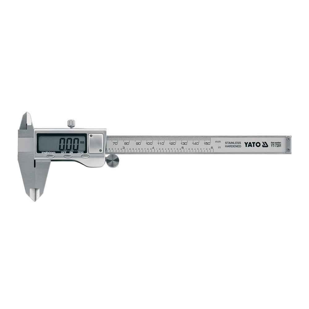 Штангенциркуль YatoШтангенциркули<br>Тип штангенциркуля: электронный,<br>Конструкция: ШЦЦ,<br>Длина (мм): 150,<br>Шаг измерения: 0.1<br>