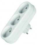 Тройник EconАксессуары для электромонтажа<br>Тип аксессуара: тройник, Степень защиты от пыли и влаги: IP 20, Сила тока: 10, Количество гнезд: 3, Заземление: нет, Цвет: белый, Напряжение: 220<br>
