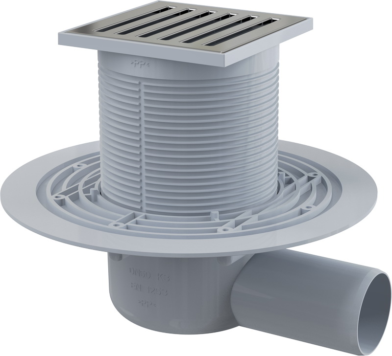 Трап Alca plastСистемы водотведения<br>Тип: трап,<br>Ширина: 105,<br>Длина (мм): 105,<br>Монтаж: пристенный,<br>Материал: нерж.сталь,<br>Форма: квадратная<br>