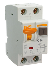 Диф. автомат ТДМАвтоматические выключатели<br>Номинальный ток: 25, Тип выключателя: дифавтомат, Количество полюсов: 2, Номинальный отключающий дифференциальный ток: 30, Степень защиты от пыли и влаги: IP 20, Количество модулей: 2<br>