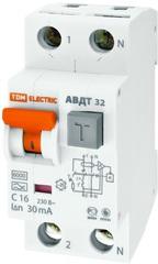 Диф. автомат ТДМАвтоматические выключатели<br>Номинальный ток: 32,<br>Тип выключателя: дифавтомат,<br>Количество полюсов: 2,<br>Номинальный отключающий дифференциальный ток: 30,<br>Степень защиты от пыли и влаги: IP 20,<br>Количество модулей: 2<br>