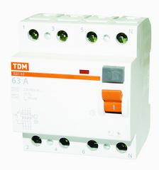 УЗО ТДМАвтоматические выключатели<br>Номинальный ток: 25, Тип выключателя: УЗО, Количество полюсов: 4, Номинальный отключающий дифференциальный ток: 100, Степень защиты от пыли и влаги: IP 20, Количество модулей: 4<br>