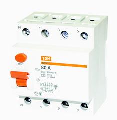 УЗО ТДМАвтоматические выключатели<br>Номинальный ток: 100,<br>Тип выключателя: УЗО,<br>Количество полюсов: 4,<br>Номинальный отключающий дифференциальный ток: 300,<br>Степень защиты от пыли и влаги: IP 20,<br>Количество модулей: 4<br>
