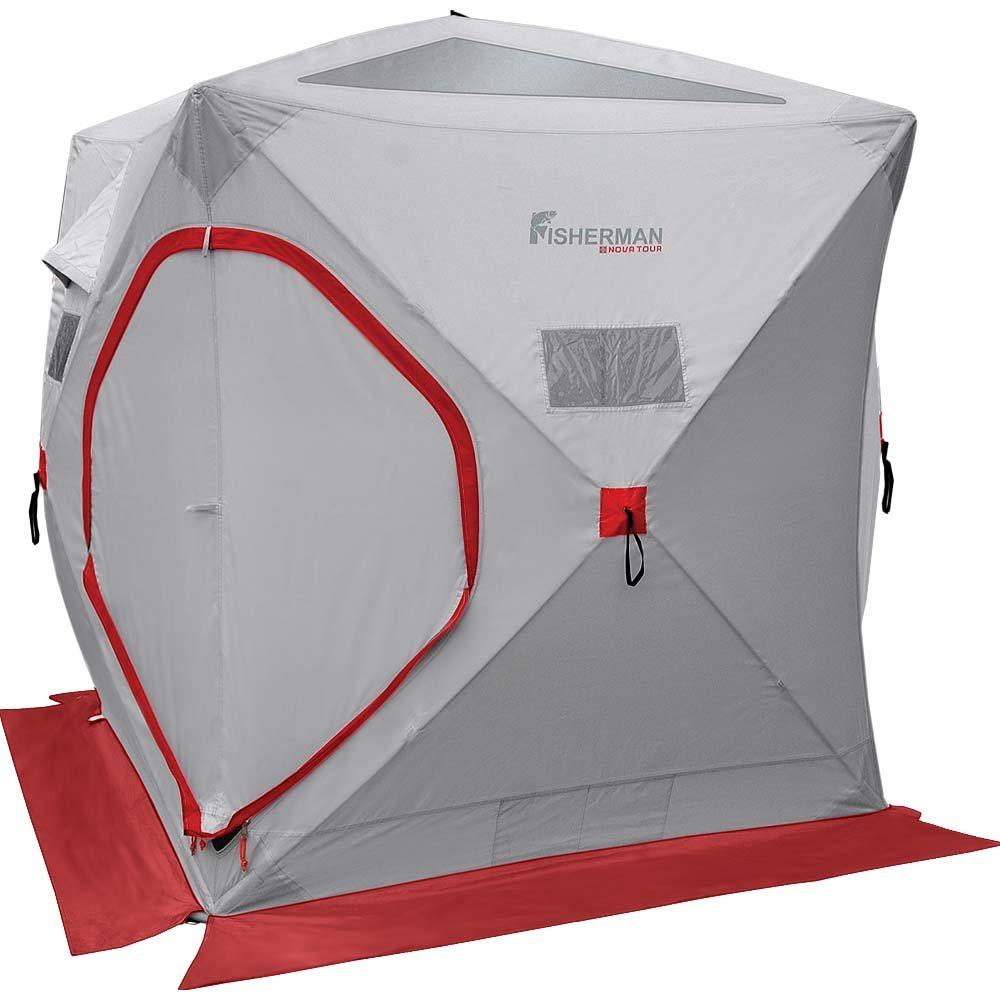 Палатка Fisherman nova tourПалатки<br>Тип палатки: трекинговый, Назначение палатки: зимняя рыбалка, Количество мест: 3, Количество комнат: 1, Количество входов: 1, Форма палатки: куб, Сезон: зима, Размеры: 1260x200x200мм, Длина (мм): 200, Ширина: 200, Высота: 1260, Москитная сетка: есть, Дно палатки: есть, Материал: полиэстер, Цвет: серый/красный<br>