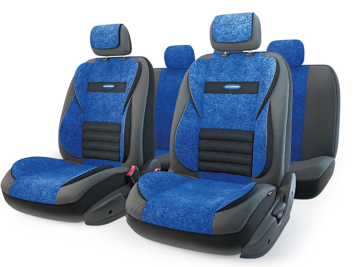 Чехол на сиденье AutoprofiЧехлы на сиденья<br>Тип: чехол, Материал: экокожа/велюр, Цвет: черный/синий<br>